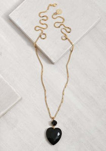 GLN028-1 Glam Black Heart Necklace/Gold