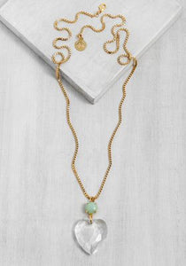 GLN029-1 Glam clear Heart Necklace/Gold & Aqua
