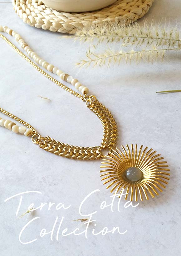 TCN011 The Golden Flower Terra Cotta Necklace