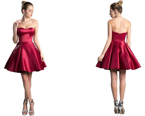 Bead Accented Sweetheart Pleated A-line Dress