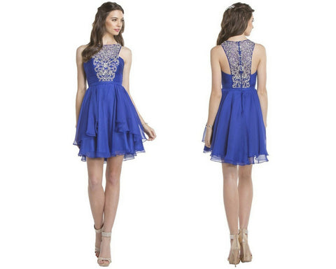 Bedazzled Halter Neck Homecoming A-line Dress
