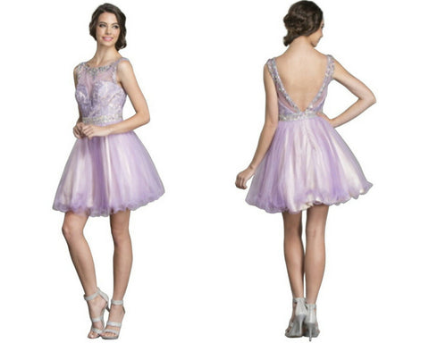 Embellished Illusion Bateau Homecoming Dress