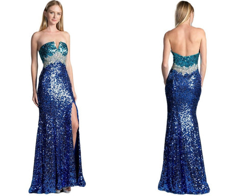 Sequined Fitted Evening Gown with Slit
