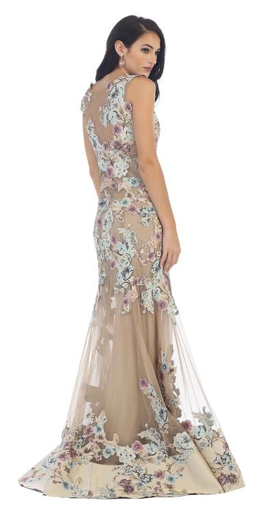 Enchanting Floral Applique Evening Gown