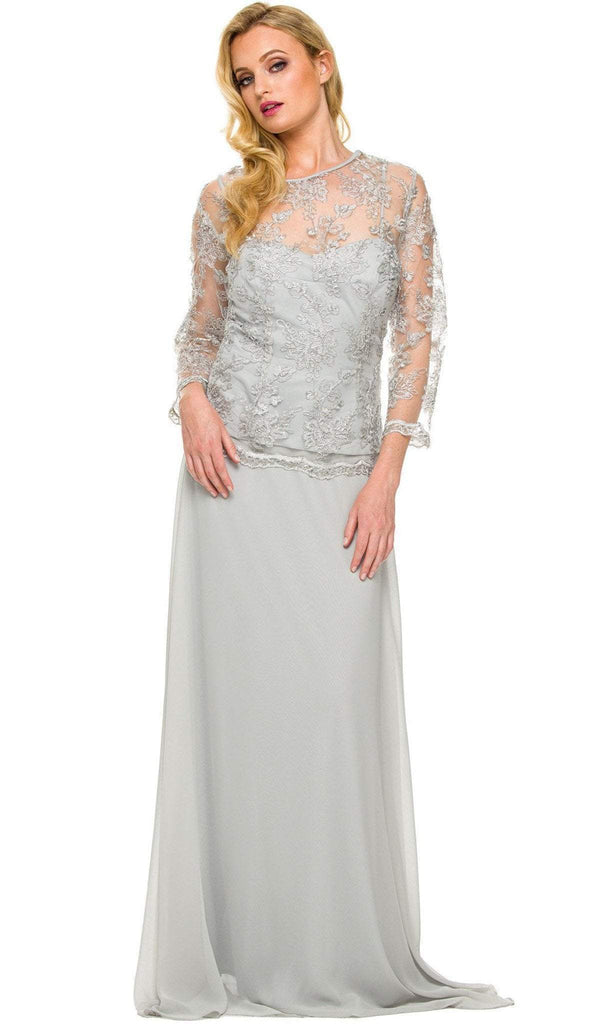 Nox Anabel - 5096 Sheer Lace Jewel Neck A-line Long Formal Dress