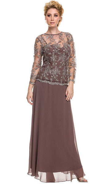 Sheer Lace Jewel Neck A-line Long Formal Dress