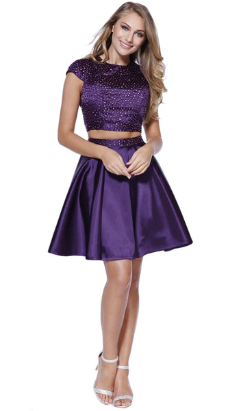 Nox Anabel - 6216 Bejeweled Jewel Neck Dress