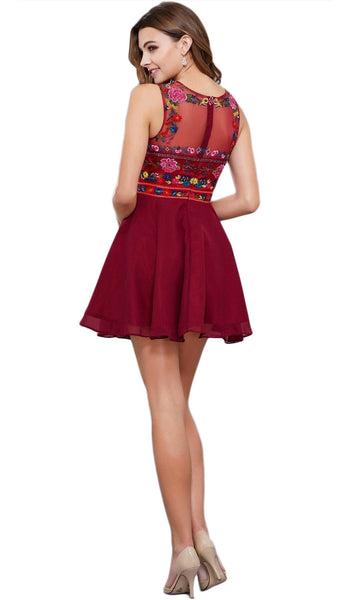 Nox Anabel - 6239 Floral Illusion Bateau Neck Dress