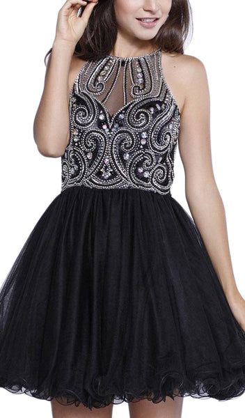 Bejeweled Halter Neck Dress - ADASA