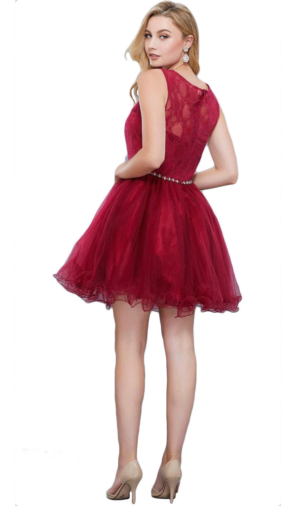 Nox Anabel - 6323 Sleeveless Ruffled Lace Hemmed Cocktail Dress