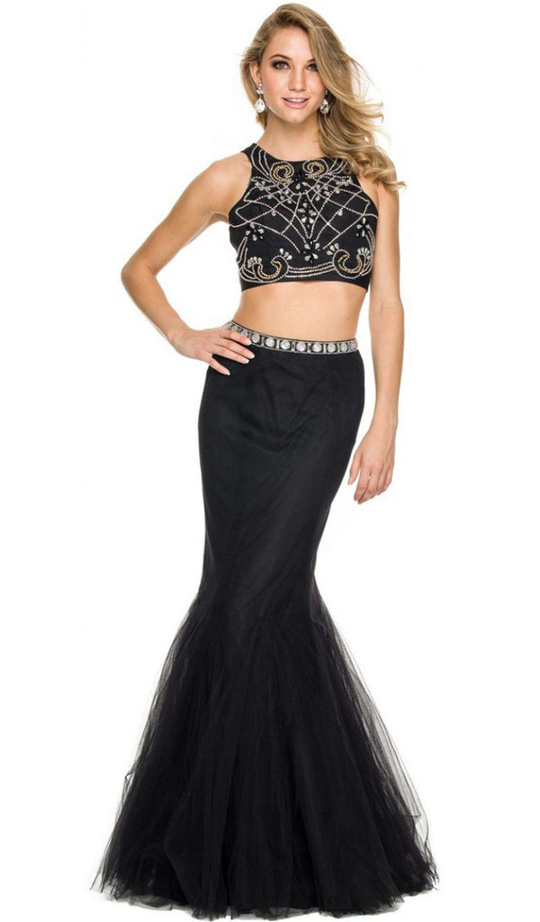 Embellished Halter Crop-Top Two Piece Evening Gown - ADASA