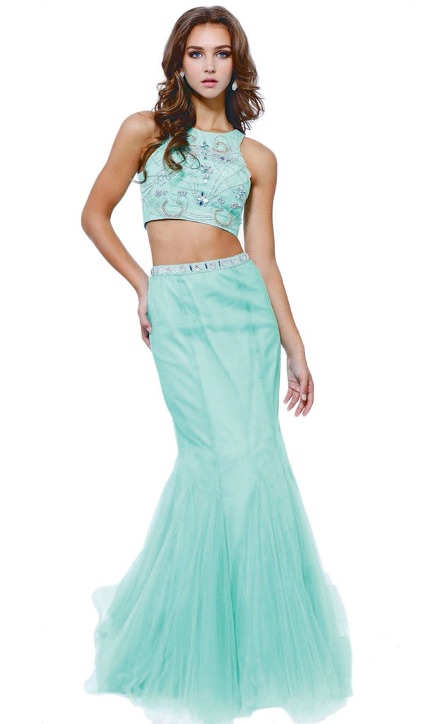 Nox Anabel - 8156 Embellished Halter Crop-Top Two Piece Evening Gown