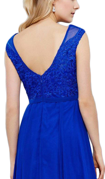 Elegant Lace Bodice Scoop Back Chiffon A-Line Evening Gown - ADASA