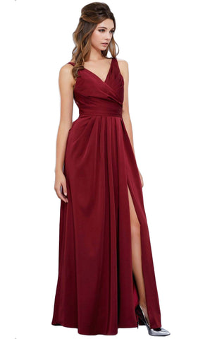 V-Neck Satin Long Evening Gown