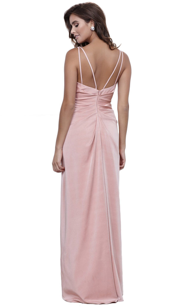 Nox Anabel - 8347 V-Neck Satin Long Evening Gown