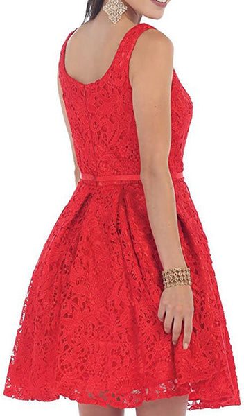 Lace Square Neck A-line Cocktail Dress