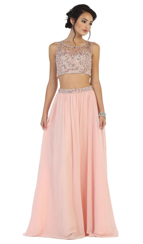 Bead Embellished Two Piece Prom Gown - ADASA