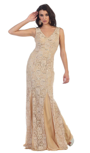 Lace Embellished V-neck Sheath Evening Dress