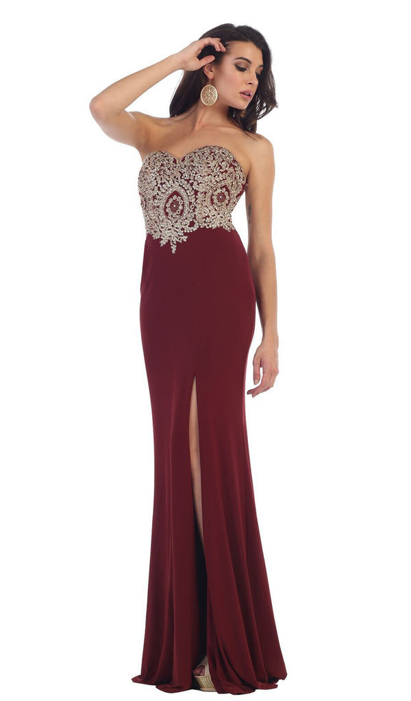 Appliqued Prom Gown with Slit - ADASA