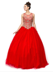 Strapless Sweetheart Gilt Appliqued Prom Ball Gown