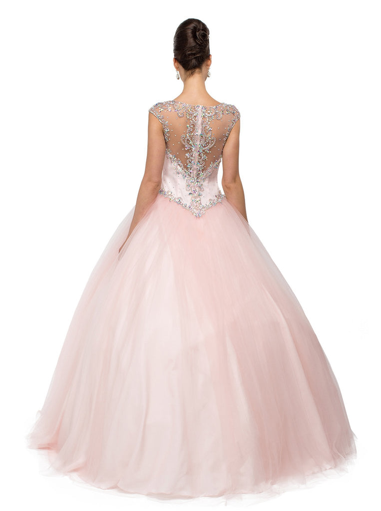 Beaded Pink Sweetheart Quinceanera Ball Gown - ADASA