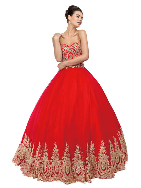 Bead Embellished Sweetheart Formal Ball Gown - ADASA