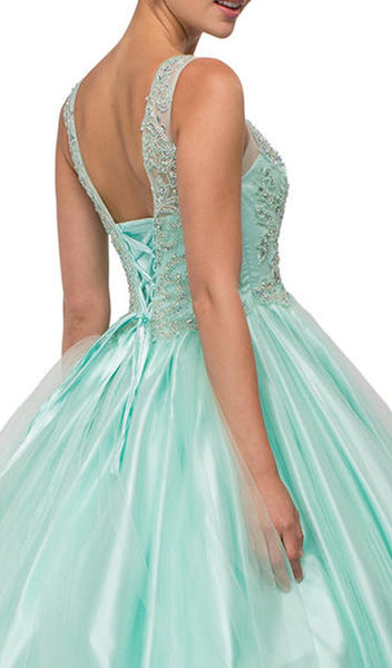 Illusion Sweetheart Beaded Quinceañera Gown