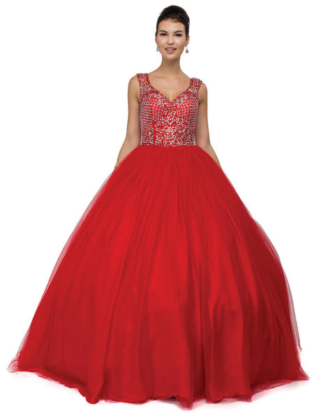 Sweetheart Sleeveless Beaded Quinceanera Gown