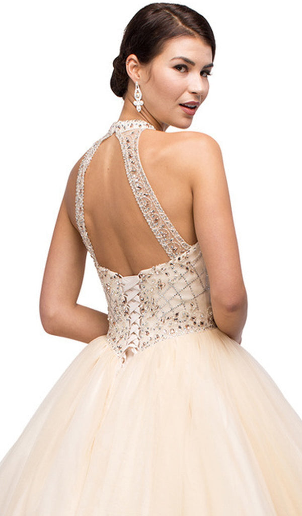 Illusion Halter Beaded Quinceanera Gown