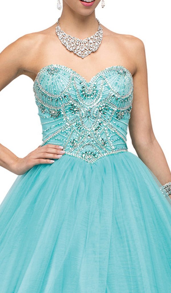Strapless Sweetheart Sparkling Quinceanera Ball Gown