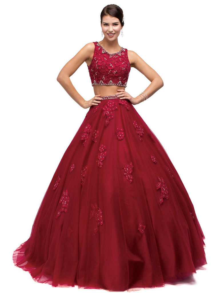 Two-Piece Sequined Floral Quinceanera Gown