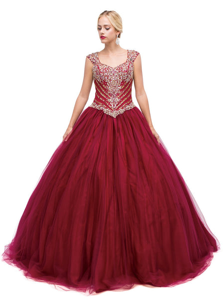 Cap Sleeves Sweetheart Enchanted Ornate Evening Gown - ADASA
