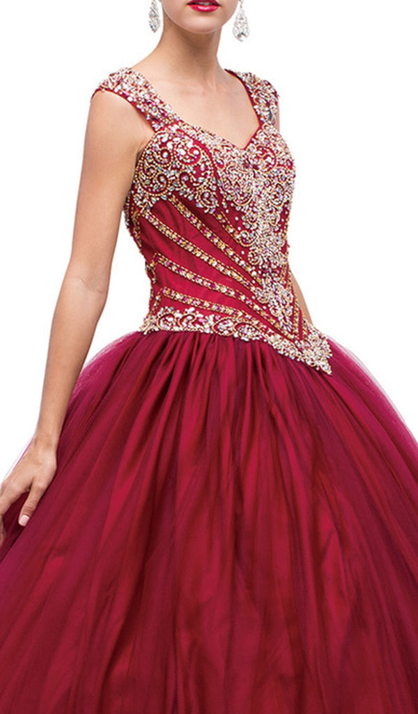 Sequined Semi-sweetheart Long Gown 1168
