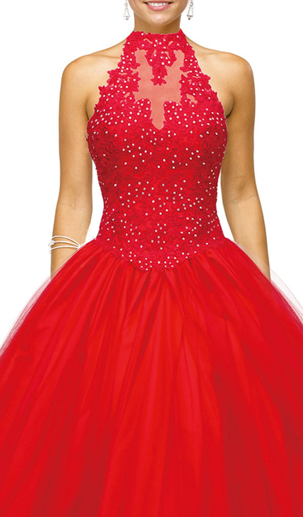 Embellished High Halter Quinceanera Gown