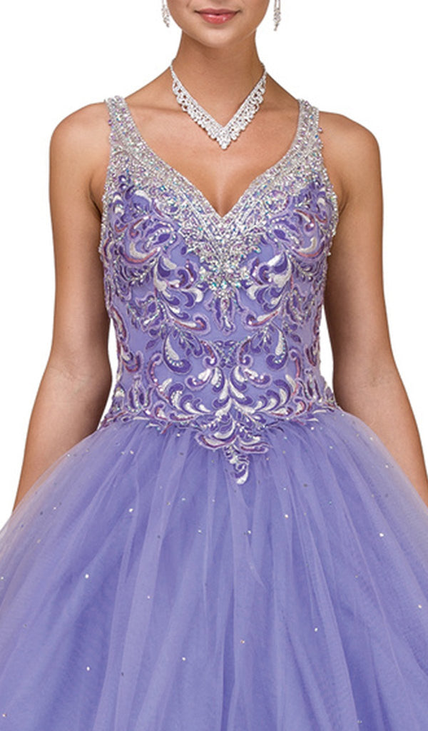 Embellished Sleeveless V-neck Quinceanera Ballgown