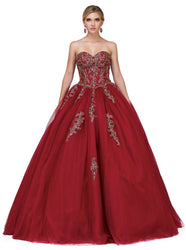 Two Piece Embroidered Evening Ballgown