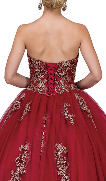 Embellished Strapless Sweetheart Quinceanera Ballgown