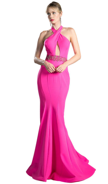 Beaded Halter Neck Scuba Mermaid Dress - ADASA