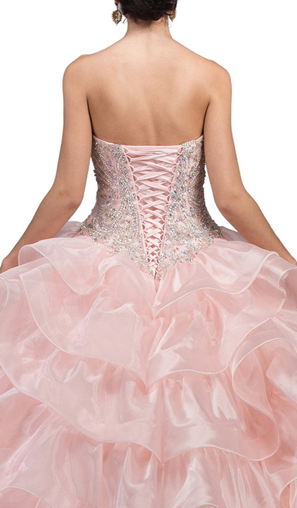 Strapless Bedazzled Sweetheart Ruffled Quinceanera Ballgown