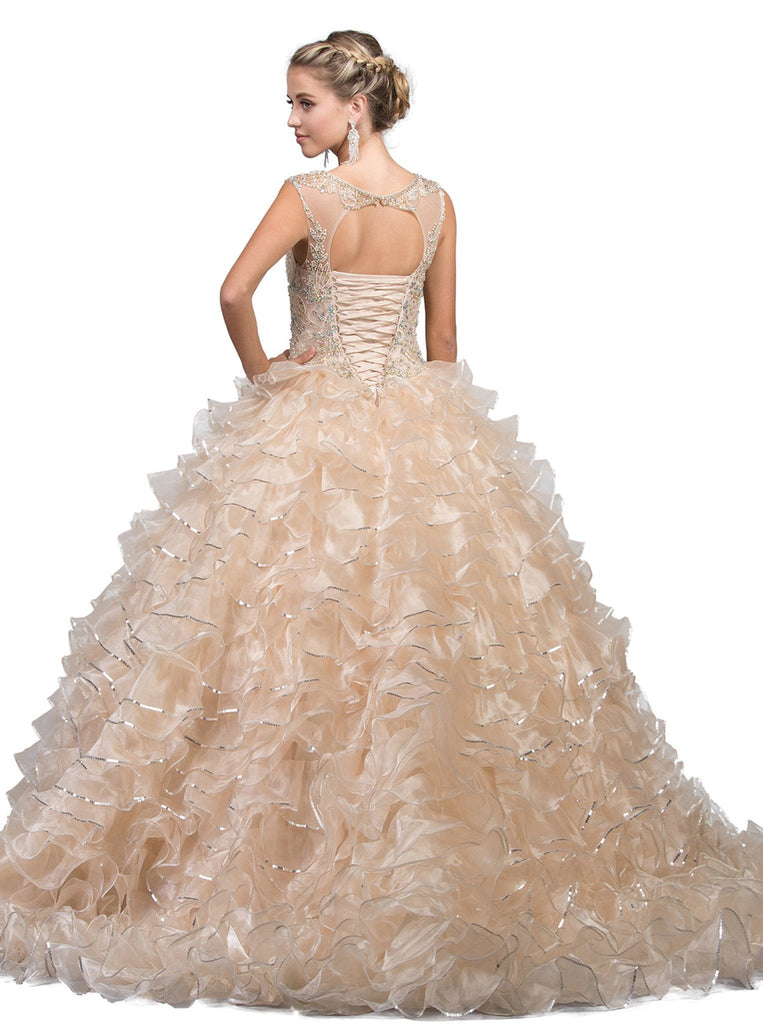 Embellished Illusion Bateau Ruffled Quinceanera Ballgown