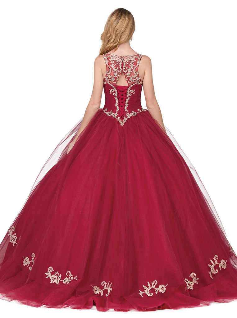 Beaded Lace Illusion Halter Quinceanera Ballgown - ADASA