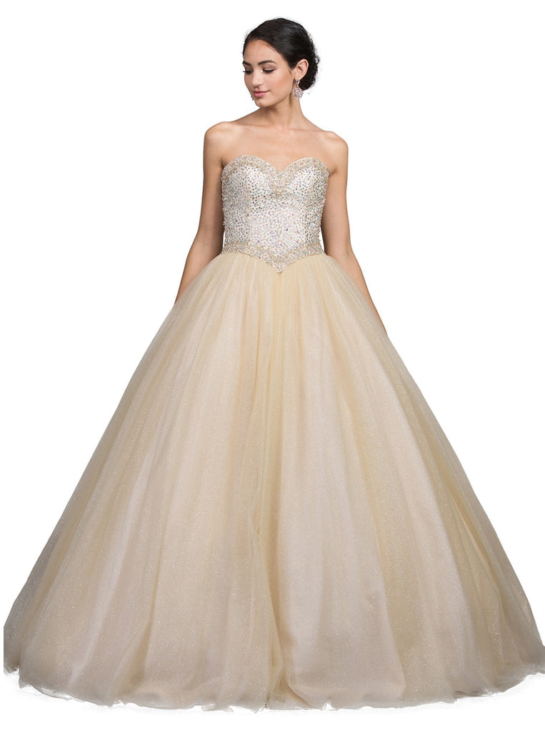 Strapless Bejeweled Sweetheart Quinceanera Ballgown