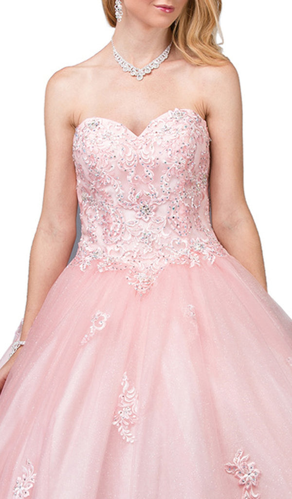 Strapless Beaded Lace Sweetheart Quinceanera Ballgown