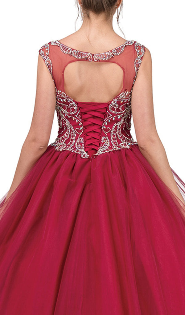 Embellished Cap Sleeve Illusion Bateau Quinceanera Ballgown - ADASA