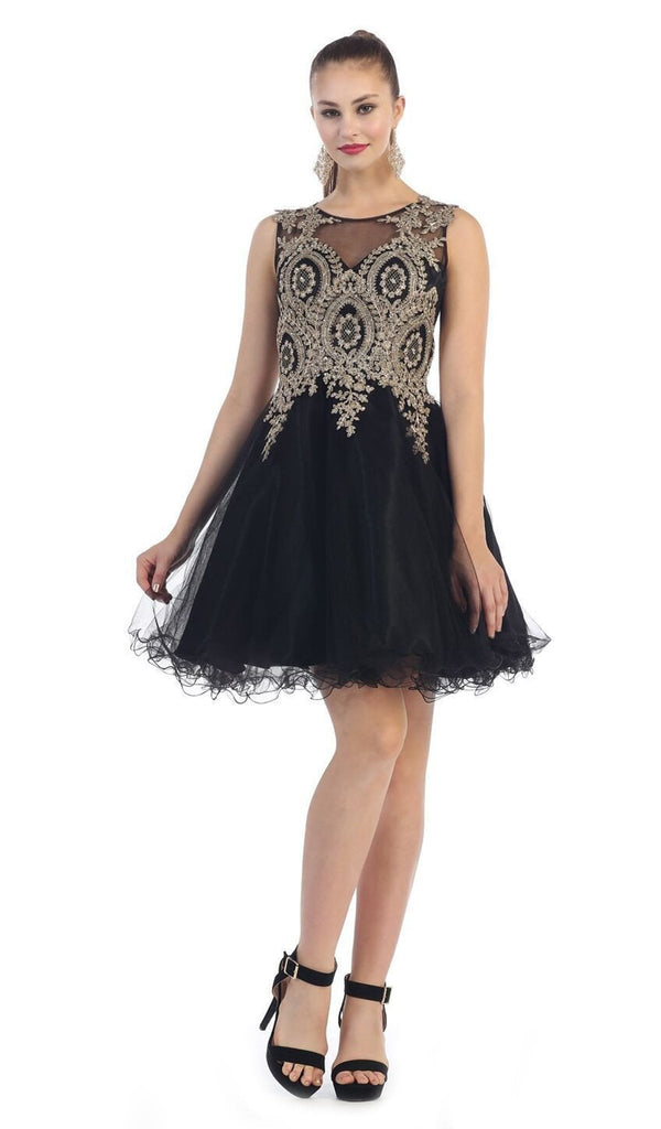 Sleeveless Ornate Lace Illusion Cocktail Dress