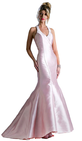 Sleeveless Low V-Neck Satin Trumpet Evening Gown