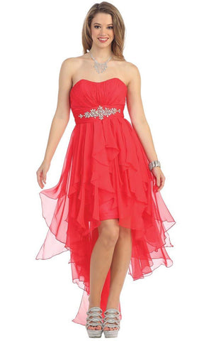 Strapless Shirred Bodice  Hi-low Prom Dress
