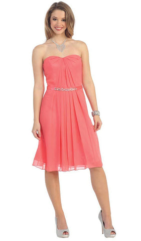 Short Strapless Chiffon  Formal Dress