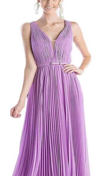 Pleated V-neck A-line Dress