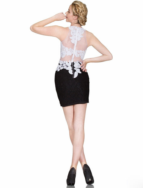 Lace Appliqued Illusion Midriff Sheath Short Formal Dress